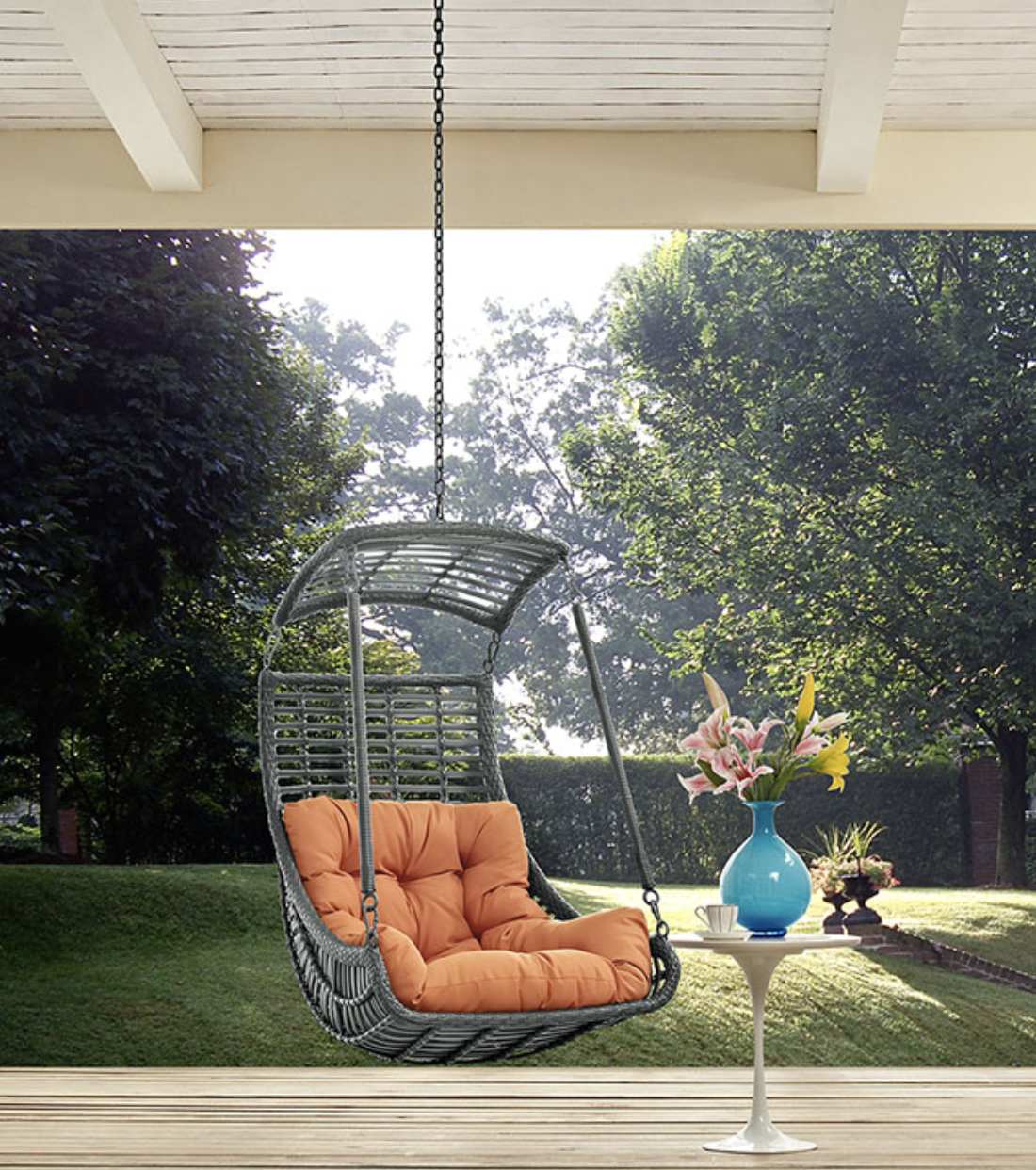 Patio Hanging Chair With Orange Cushion