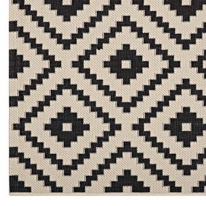 Black and Beige Outdoor Rug