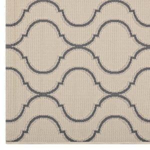 Indoor Outdoor Rug in Beige and Gray