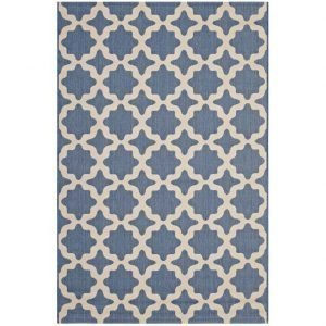 Moroccan Trellis Indoor Outdoor Area Rug in Blue and Beige