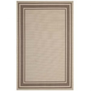 Indoor Outdoor Area Rug in Light and Dark Beige