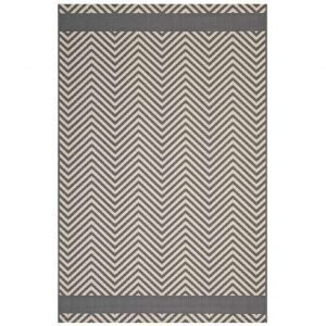 Indoor Outdoor Area Rug with End Borders in Light and Dark Beige