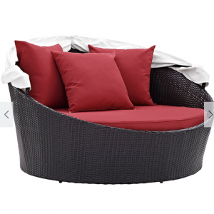 Rattan Day Bed with red cushions Canopy Down