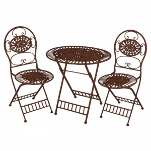 Brown Bistro Table with Two Chairs