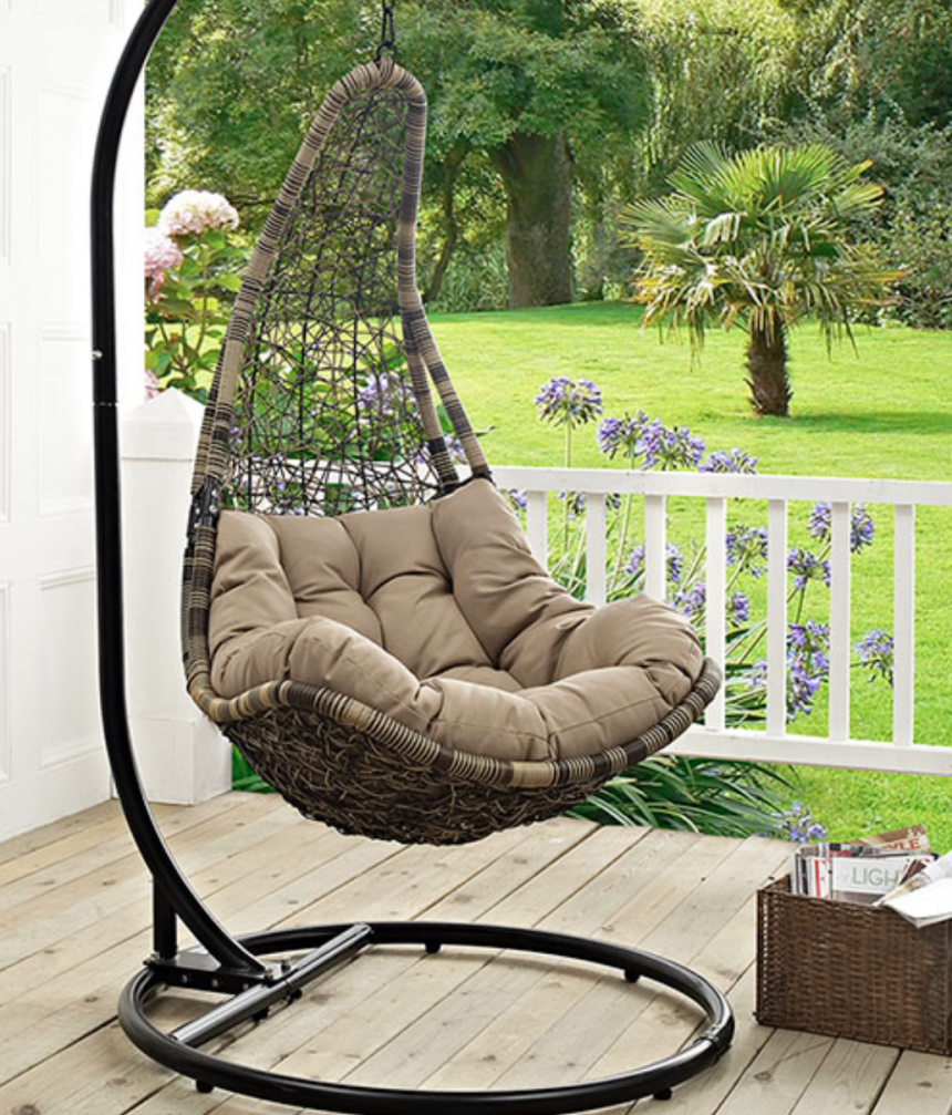 Outdoor Patio Swing Chair With Stand in Black Mocha EEI-2276