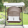 Rattan Swing Chair with Canopy for Two