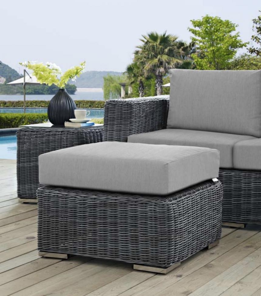 Sunbrella Gray Cushion Two-Tone Wicker Ottoman