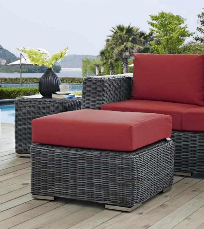 Sunbrella Red Cushion Two-Tone Wicker Ottoman