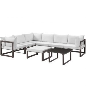 Aluminum Patio Sectional Set in Brown and White