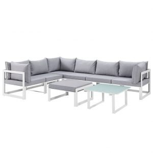 Aluminum Patio Sectional Set in White and Gray