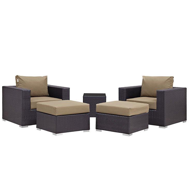 5 piece rattan patio set with mocha cushions