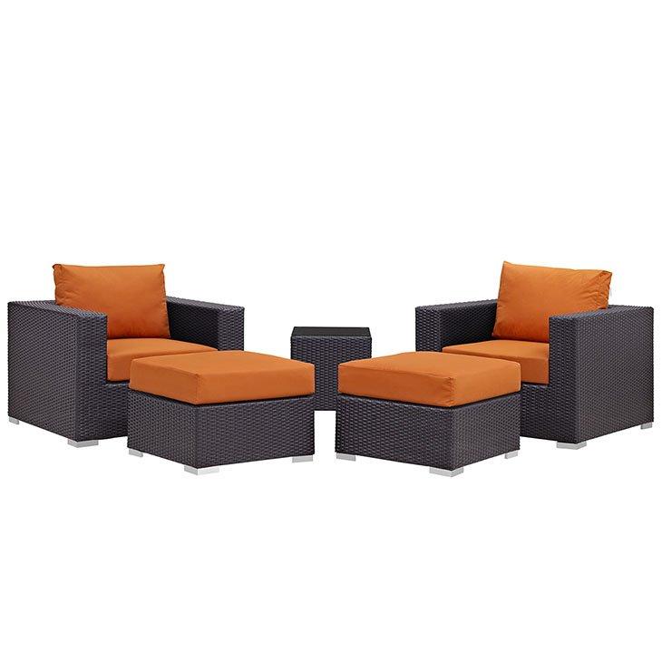 5 piece rattan patio set with orange cushions