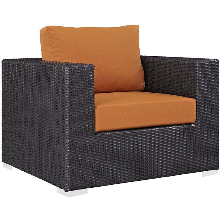 Rattan Armchair with Orange Cushions
