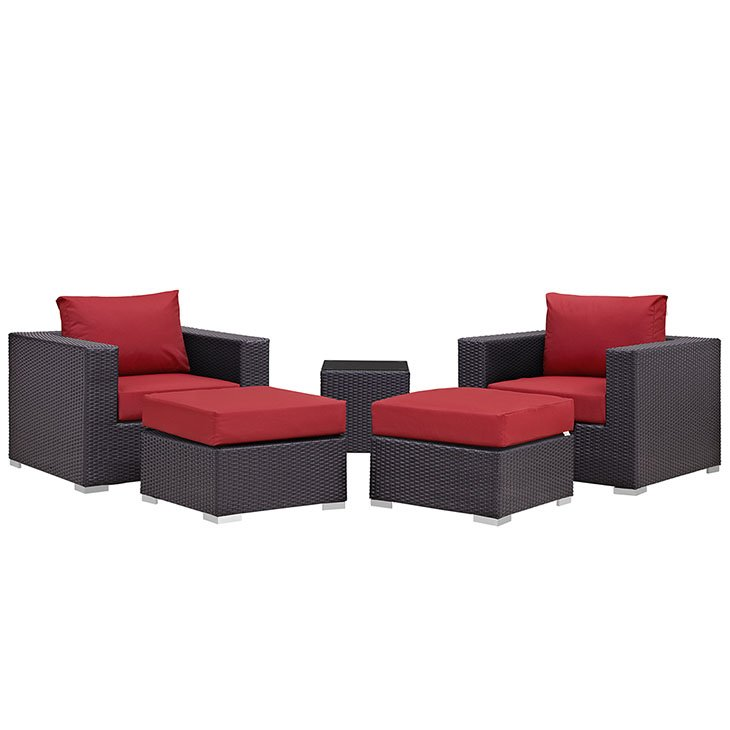 5 piece rattan patio set with red cushions