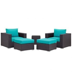 5 piece rattan patio set with turquoise cushions