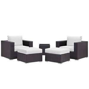 5 piece rattan patio set with white cushions