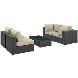 EEI-1882 - 5 Piece Rattan Sectional with SUNBRELLA® Beige Cushions