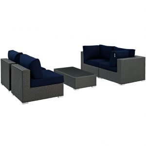 5 PIECE OUTDOOR PATIO WICKER RATTAN SUNBRELLA® SECTIONAL SET IN CANVAS NAVY