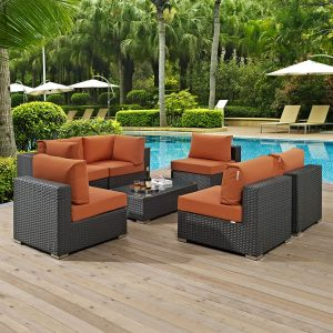 7 PIECE OUTDOOR PATIO WICKER RATTAN SUNBRELLA® SECTIONAL SET IN CANVAS TUSCAN EEI-1883