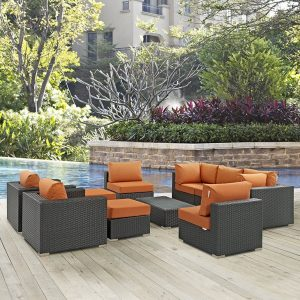 Outdoor Patio Wicker Rattan Sectional with SUNBRELLA® in Canvas Tuscan