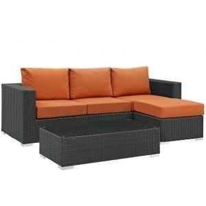 3 Piece outdoor patio wicker rattan SUNBRELLA® sectional set in Canvas Tuscan