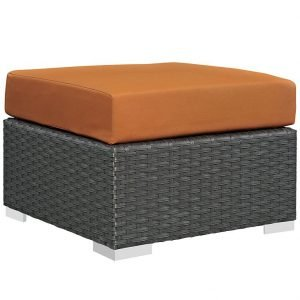 Rattan Ottoman with SUNBRELLA® Fabric Cushion in Canvas Tuscan
