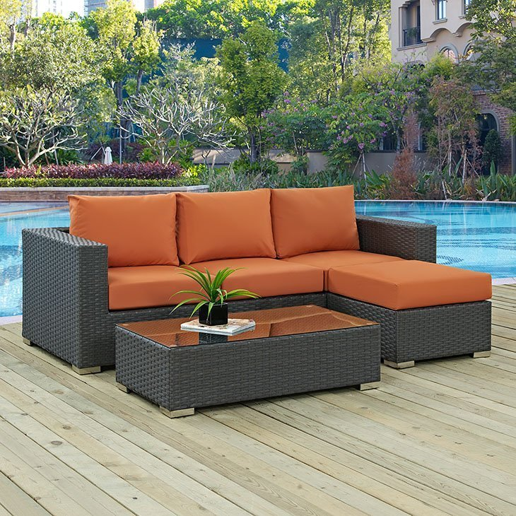 3 piece outdoor patio SUNBRELLA® sectional set in canvas tuscan