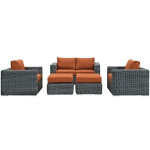 5 Piece Outdoor Patio Wicker Rattan SUNBRELLA® Sectional Set in Canvas Tuscan