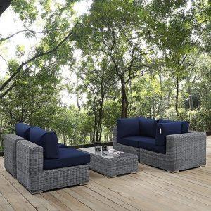 5 Piece Outdoor Patio Wicker Rattan SUNBRELLA® Sectional Set in Canvas Navy