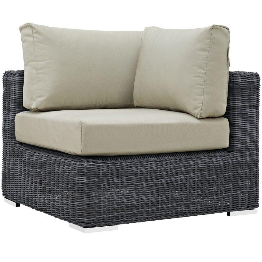 Summon 7 Piece Outdoor Patio Sunbrella® Sectional Set in Canvas Antique Beige-EEI-1897-GRY-BEI-SET_corner chair