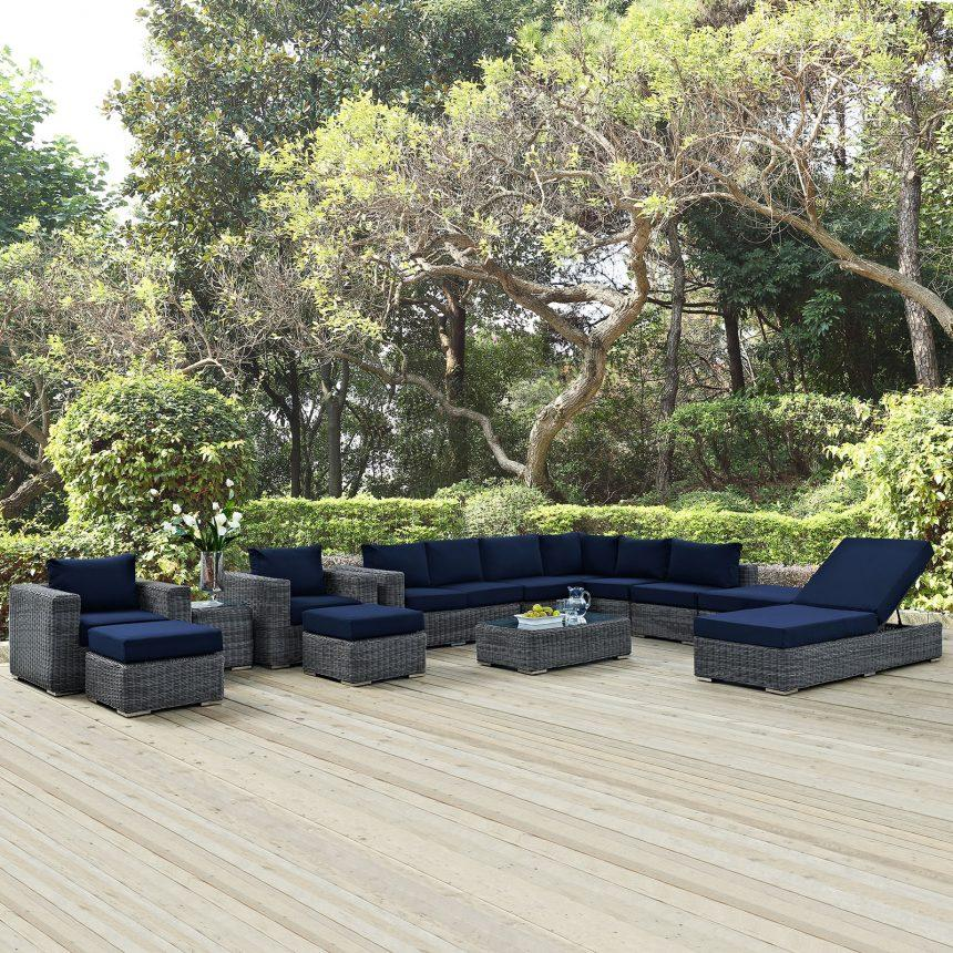 12 Piece Outdoor Patio Sunbrella® Sectional Set in Canvas Navy EEI-1898