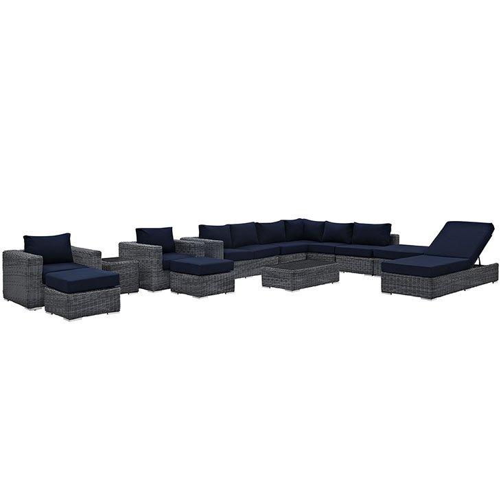 12 Piece Outdoor Wicker Rattan SUNBRELLA® Sectional Set in Canvas Navy