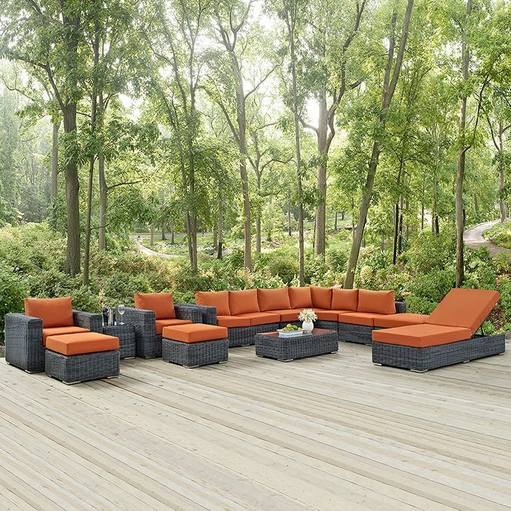 11 Piece Wicker Rattan SUNBRELLA® Sectional Set in Canvas Tuscan