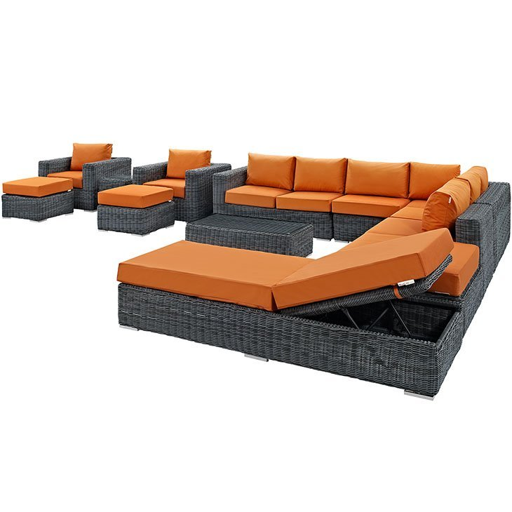 12 Piece Outdoor Wicker Rattan SUNBRELLA® Sectional Set in Canvas Tuscan