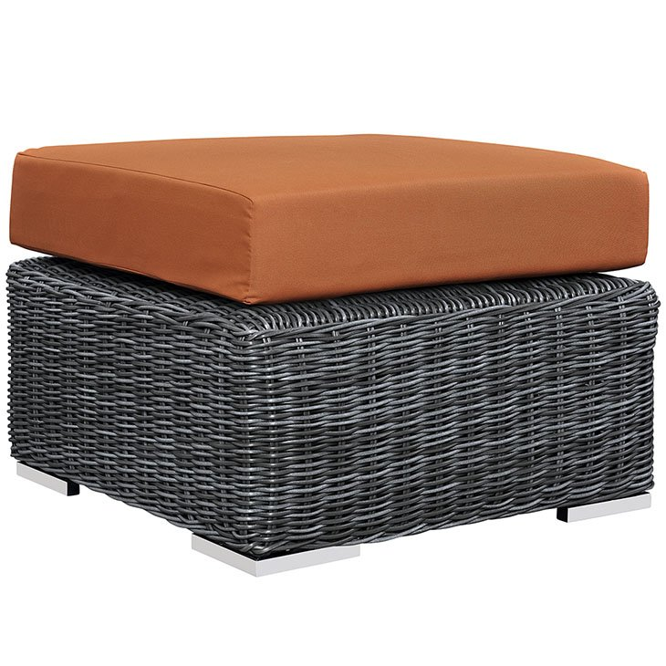 12 Piece Outdoor Wicker Rattan SUNBRELLA® Sectional Ottoman in Canvas Tuscan