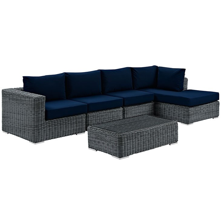 Tremendous 5 Piece Outdoor Patio Rattan Sunbrella Sectional Set Gmtry Best Dining Table And Chair Ideas Images Gmtryco