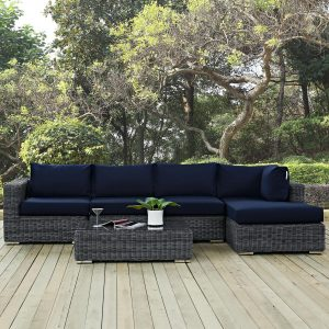 5 Piece Outdoor Patio Sunbrella® Sectional Set with Canvas Navy cushions EEI-1900