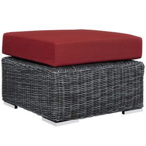Wicker Rattan Ottoman with Sunbrella® cushions
