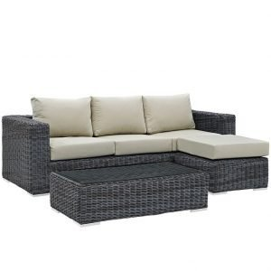 3 Piece Patio Wicker Rattan SUNBRELLA® Sectional Set in Canvas Antique Beige