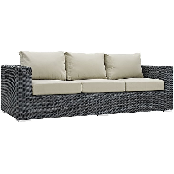 3 Piece Patio Wicker Rattan SUNBRELLA® Sectional Sofa in Canvas Antique Beige
