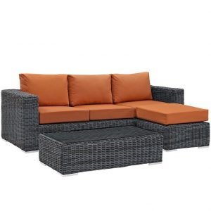 3 Piece Patio Wicker Rattan SUNBRELLA® Sectional Set in Canvas Tuscan