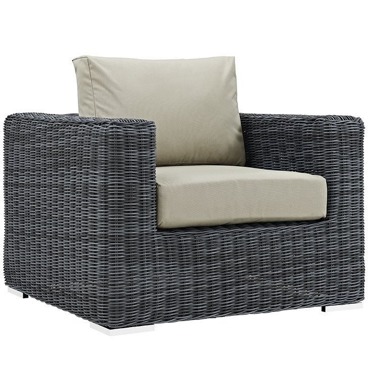3 Piece Outdoor Patio Wicker Rattan SUNBRELLA® Sectional Armchair in Canvas Antique Beige