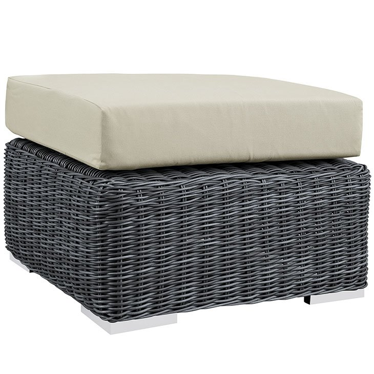 3 Piece Outdoor Patio Wicker Rattan SUNBRELLA® Sectional Ottoman in Canvas Antique Beige