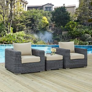 3 Piece Outdoor Patio Wicker Rattan SUNBRELLA® Sectional Set in Canvas Antique Beige
