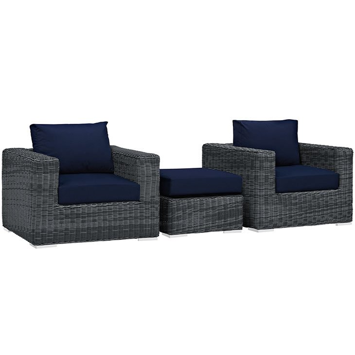 3 Piece Outdoor Patio Wicker Rattan SUNBRELLA® Sectional Set in Canvas Navy