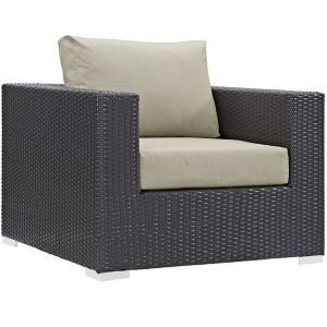 Rattan Armchair with Beige Cushions
