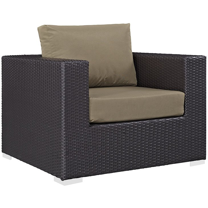 Rattan Armchair with Mocha Cushions