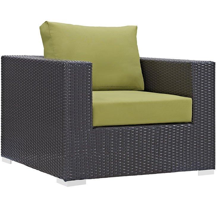 Rattan Armchair with Green Cushions