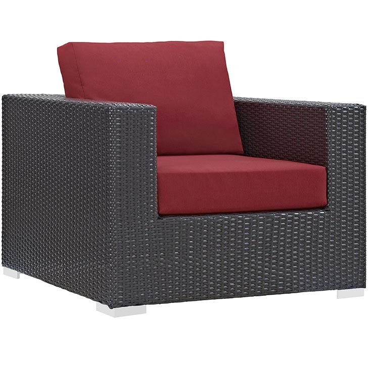 Rattan Armchair with Red Cushions