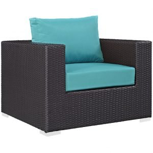 Rattan Armchair with Turquoise Cushions